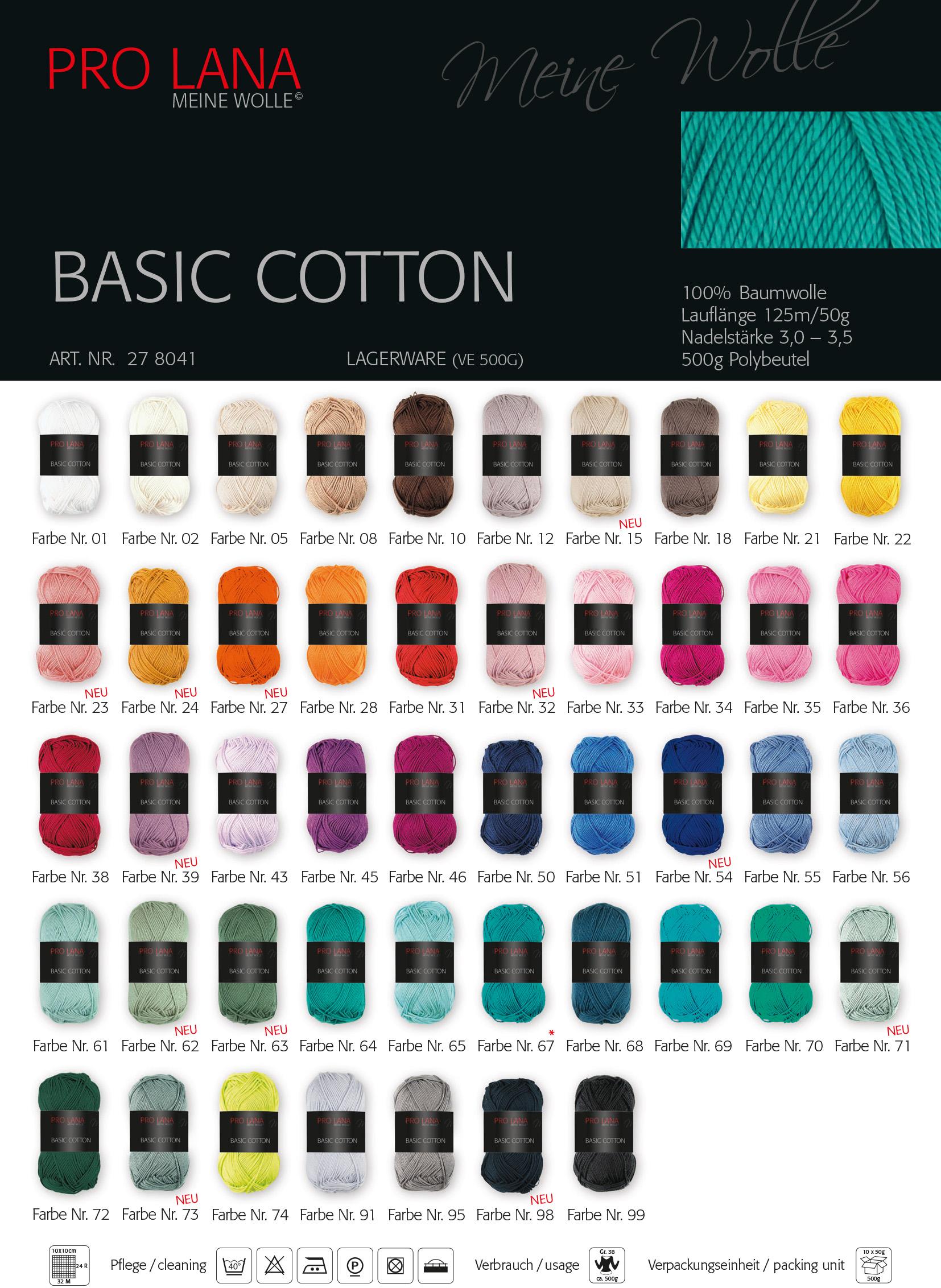 ca 125 m Wolle BASIC COTTON von PRO LANA Farbe 27-50 g